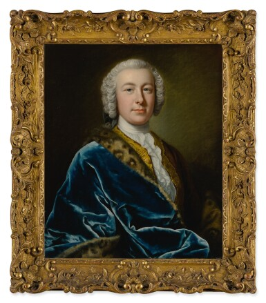 View 3. Thumbnail of Lot 64. Portrait of James FitzGerald, Earl of Offaly, Marquess of Kildare, and 1st Duke of Leinster (1722 - 1773), in a blue robe with fur trim, half-length.