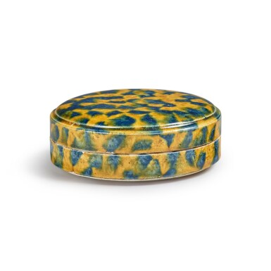 View 3. Thumbnail of Lot 176. A dappled blue-and-amber-glazed box and cover, Tang dynasty | 唐 三彩加藍蓋盒.