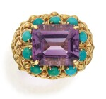 GOLD, AMETHYST AND TURQUOISE RING, DAVID WEBB
