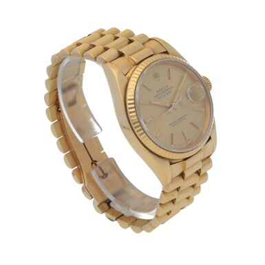 View 3. Thumbnail of Lot 193. DATEJUST, REF 16018 YELLOW GOLD WRISTWATCH WITH DATE AND BRACELET CIRCA 1979.