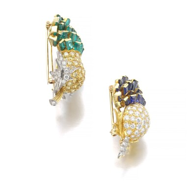 View 2. Thumbnail of Lot 303. VERDURA | PAIR OF SAPPHIRE, EMERALD AND DIAMOND BROOCHES, 'THISTLE', 1960.