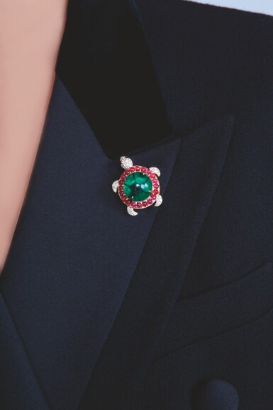 View 4. Thumbnail of Lot 33. EMERALD, RUBY AND DIAMOND BROOCH, MICHELE DELLA VALLE.