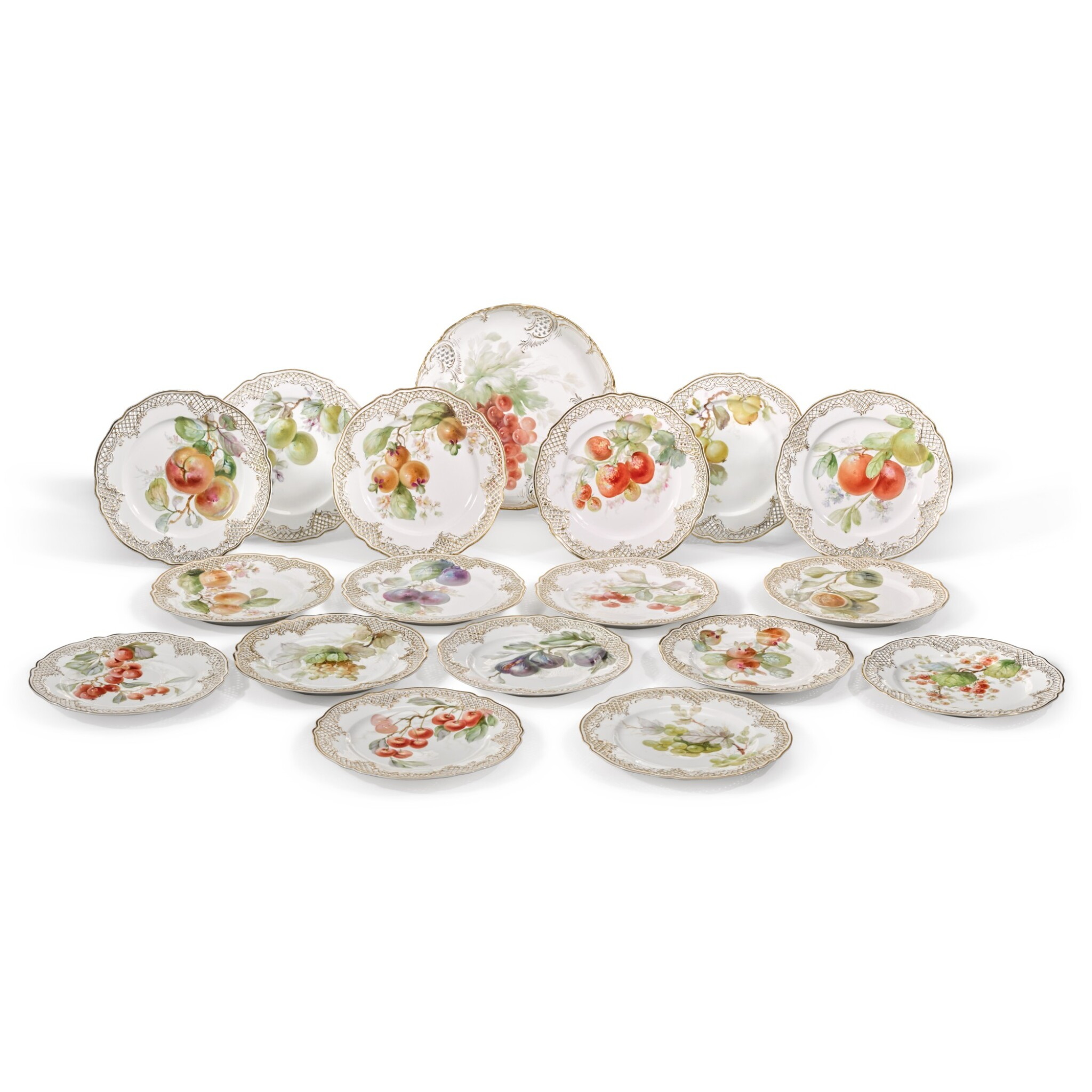 View full screen - View 1 of Lot 137. A set of seventeen Nymphenburg pierced plates, circa 1900.