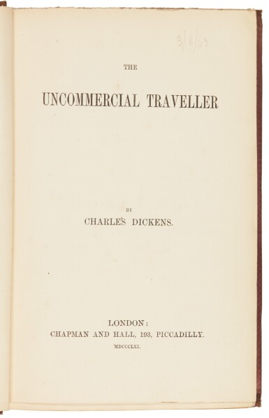 Dickens, Uncommercial Traveller, 1861, [1860], first book edition