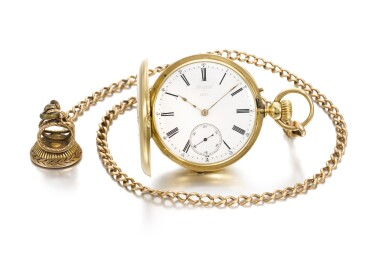 View 2. Thumbnail of Lot 201. YELLOW GOLD HALF HUNTING CASED KEYLESS WATCH NO. 4969, MADE IN 1866.