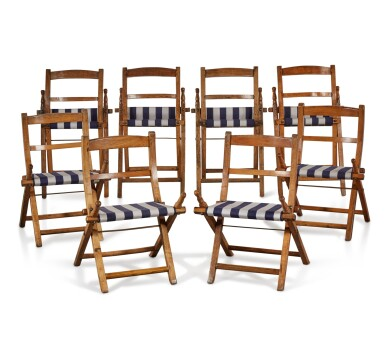 View 4. Thumbnail of Lot 7. A SET OF EIGHT SHIP'S ASH AND BEECH FOLDING CHAIRS, EARLY 20TH CENTURY.