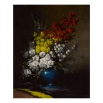 GERMAIN-THÉODORE RIBOT   BOUQUET OF FLOWERS IN A BLUE VASE