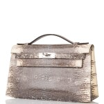 HERMÈS | OMBRE MINI KELLY POCHETTE OF SHINY VARANUS SALVATOR LIZARD WITH PALLADIUM HARDWARE