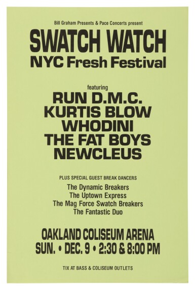 "RUN-DMC | ""BILL GRAHAM PRESENTS & PACE CONCERTS PRESENT SWATCH WATCH NYC FRESH FESTIVAL"" CONCERT POSTER, 1984"