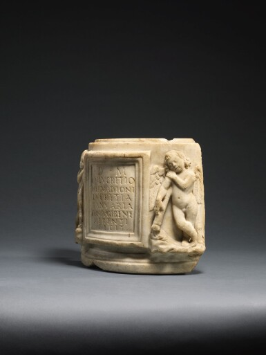 View 3. Thumbnail of Lot 50. A FRAGMENTARY ROMAN MARBLE CINERARY URN, 1ST/2ND CENTURY A.D..