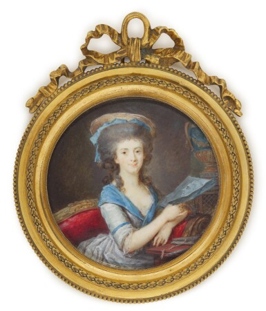 View 1. Thumbnail of Lot 134. Portrait of a lady holding a drawing, circa 1785.