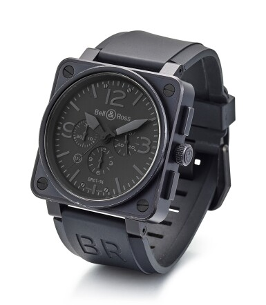 View 2. Thumbnail of Lot 8258. BELL & ROSS | BR 01, REFERENCE BR01-94-S, A LIMITED EDITION BLACKENED STAINLESS STEEL CHRONOGRAPH WRISTWATCH, CIRCA 2015.