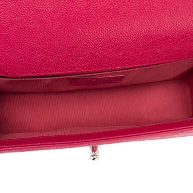 View 7. Thumbnail of Lot 186.  Chanel Red Quilted Old Medium Boy Bag of Caviar Leather with Silver Tone Hardware.