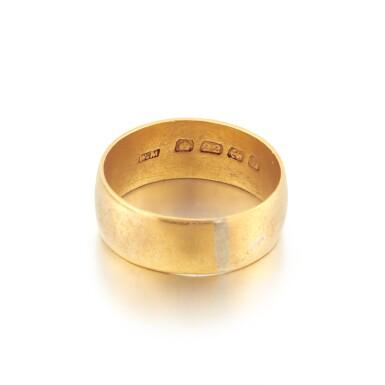 View 5. Thumbnail of Lot 2. Sylvia Plath and Ted Hughes | Pair of gold wedding rings.