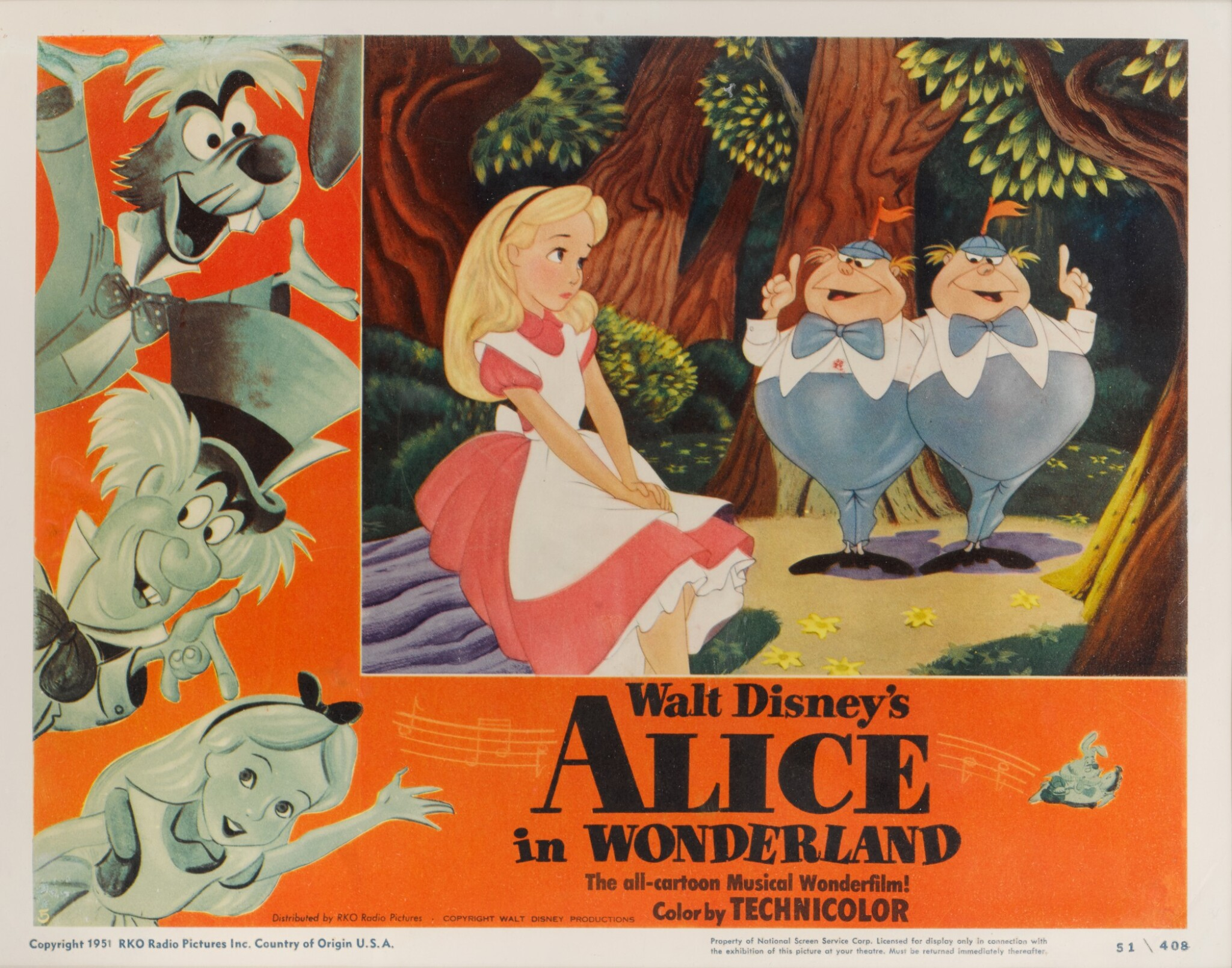 View full screen - View 1 of Lot 25. ALICE IN WONDERLAND (1951) LOBBY CARD, US.