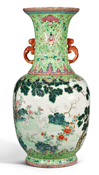 View 1. Thumbnail of Lot 162. A FINE AND RARE LARGE LIME-GREEN GROUND FAMILLE-ROSE 'THREE RAMS' VASE QING DYNASTY, DAOGUANG PERIOD SHENDETANG HALL MARK   清道光 綠地粉彩通景三羊開泰雙螭耳大瓶 《慎德堂製》款.