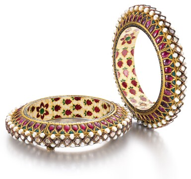 A PAIR OF GEM-SET AND ENAMELLED BRACELETS (KADA), NORTH INDIA, CIRCA 1900