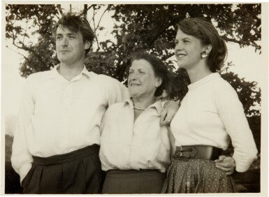 View 6. Thumbnail of Lot 5. Sylvia Plath and Ted Hughes   Collection of six photographs with the Hughes family in Yorkshire, September 1956.