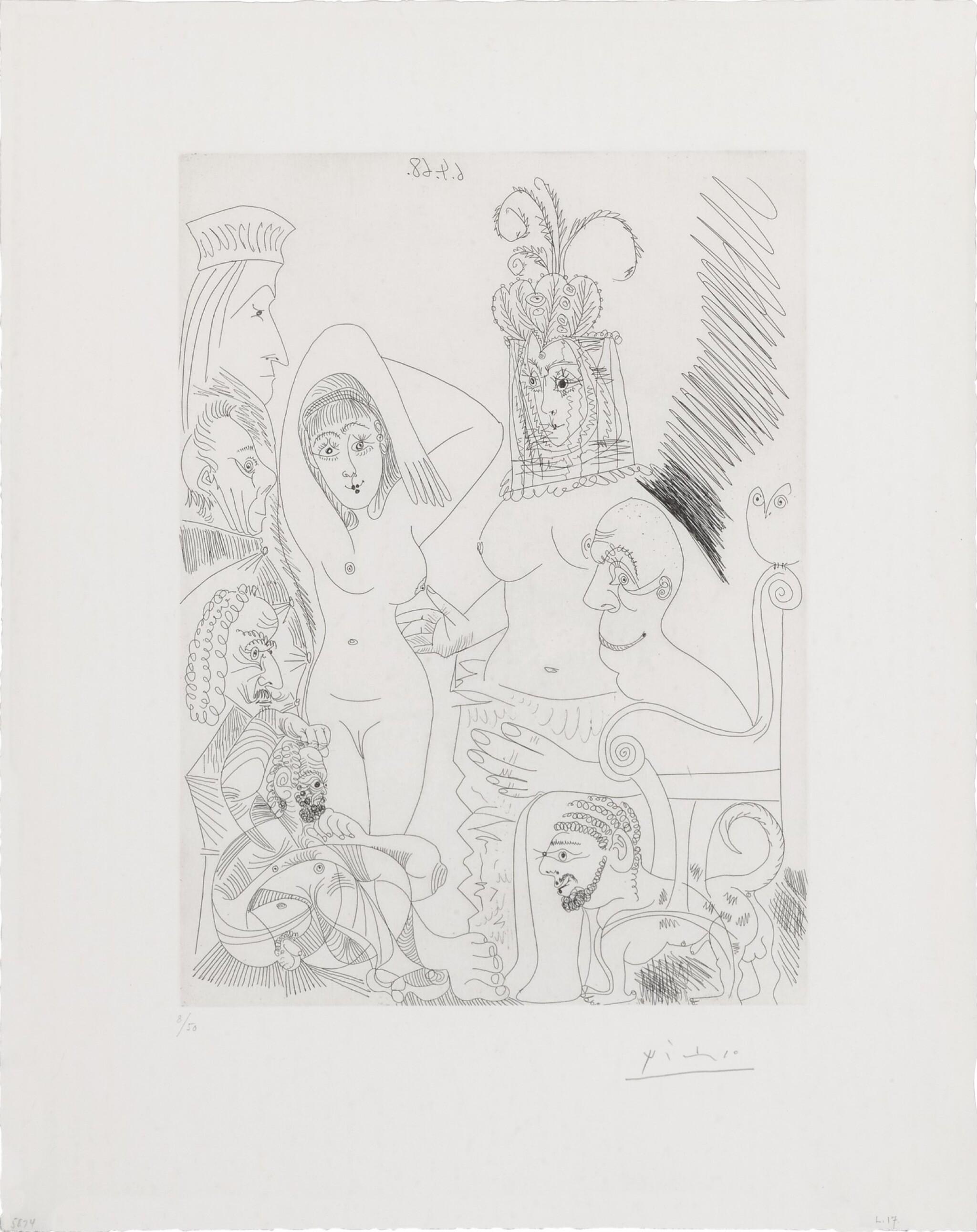 Homme barbu songeant à une scène des mille et une nuits (B. 1497; Ba. 1513)