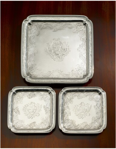 A GEORGE II SILVER SALVER AND PAIR OF MATCHING WAITERS, PAUL DE LAMERIE, LONDON, 1735