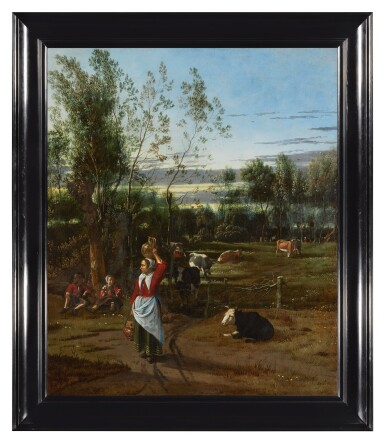 View 3. Thumbnail of Lot 126. JAN SIBERECHTS  |  A MILKMAID AND CHILDREN IN A FIELD, CATTLE GRAZING BEYOND .