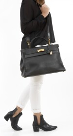 Black leather and yellow hardware handbag, Kelly 40, Hermès, 1992