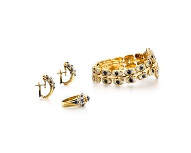 View 2. Thumbnail of Lot 1612. Diamond and Sapphire Demi-Parure and 'Pulchra' Wristwatch | 卡地亞及Bertolucci | 鑽石 配 藍寶石 戒指及耳環套裝 及'Pulchra' 腕錶.