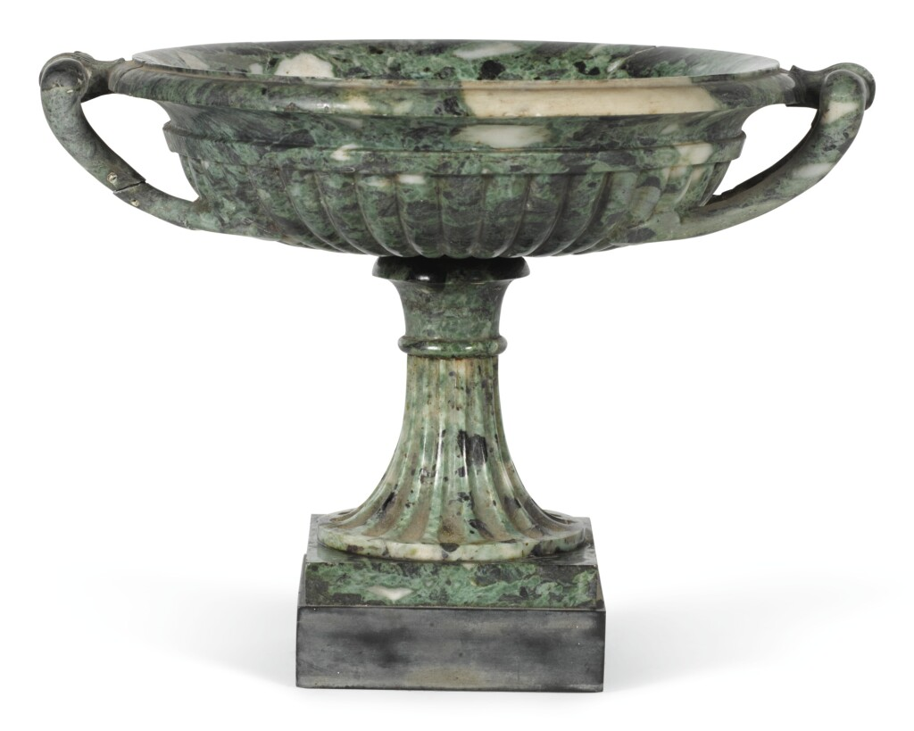 A CARVED VERDE ANTICO TAZZA, ITALIAN, EARLY 19TH CENTURY