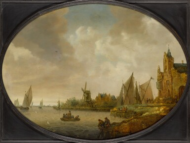 JAN COELENBIER | River landscape with a windmill, a port building, and sailing vessels