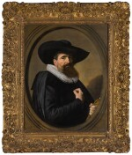 FRANS HALS     PORTRAIT OF A MAN, HALF-LENGTH IN BLACK, WITH A BROAD-BRIMMED BLACK HAT AND A WHITE RUFF, HOLDING HIS GLOVES, WITHIN A PAINTED OVAL
