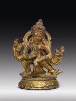 A COPPER ALLOY FIGURE OF AN OFFERING GODDESS,  NEPAL, 15TH CENTURY