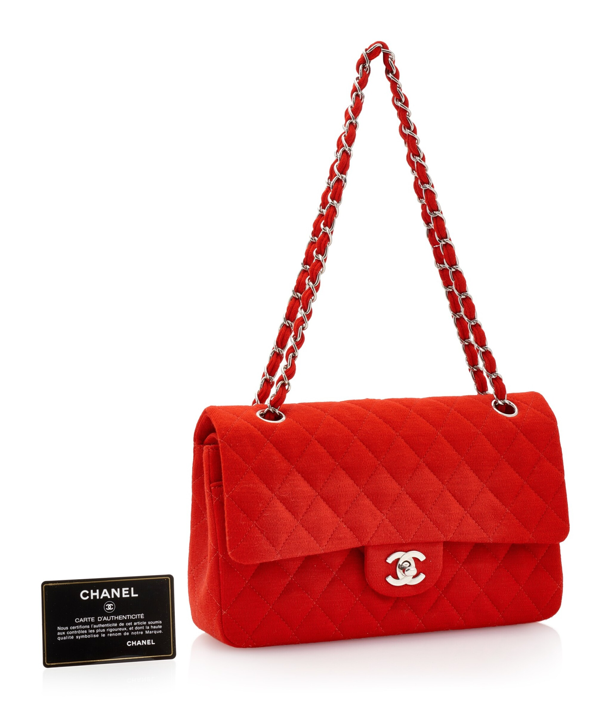 View full screen - View 1 of Lot 150. RED JERSEY AND SILVER-TONE METAL CLASSIC SHOULDER BAG, CHANEL.