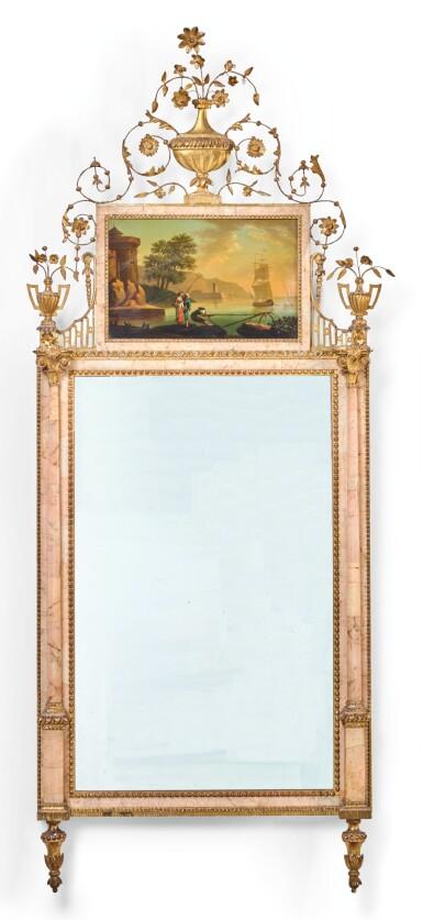View 1. Thumbnail of Lot 81. A CARLOS IV NEOCLASSICAL GILT-METAL AND PINK MARBLE VENEERED MIRROR, BILBAO CIRCA 1780.