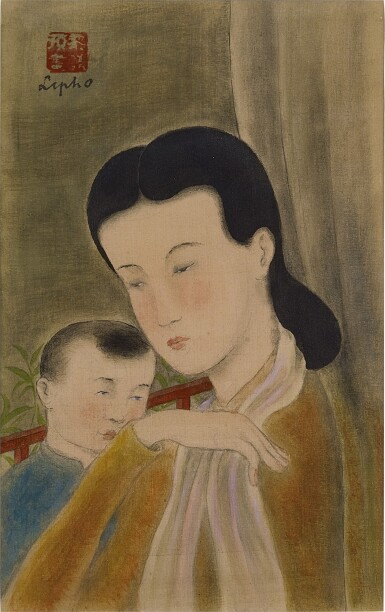 View 1. Thumbnail of Lot 231. LE PHO 黎譜   LA MERE ET L'ENFANT (MOTHER AND CHILD) 母子.