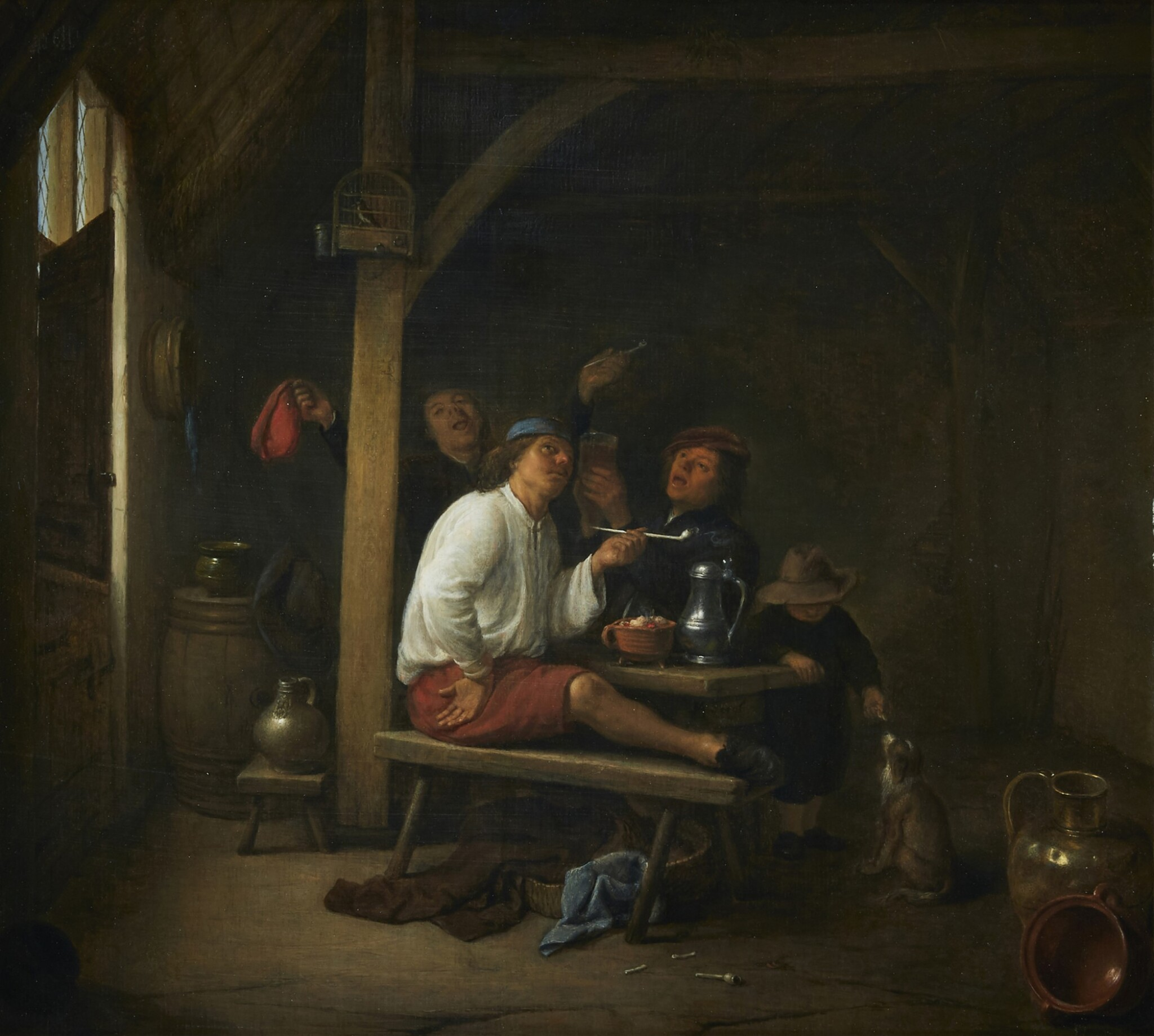 View full screen - View 1 of Lot 282. HENDRICK MAERTENSZ. SORGH   A TAVERN SCENE WITH PEASANTS SMOKING AND DRINKING.