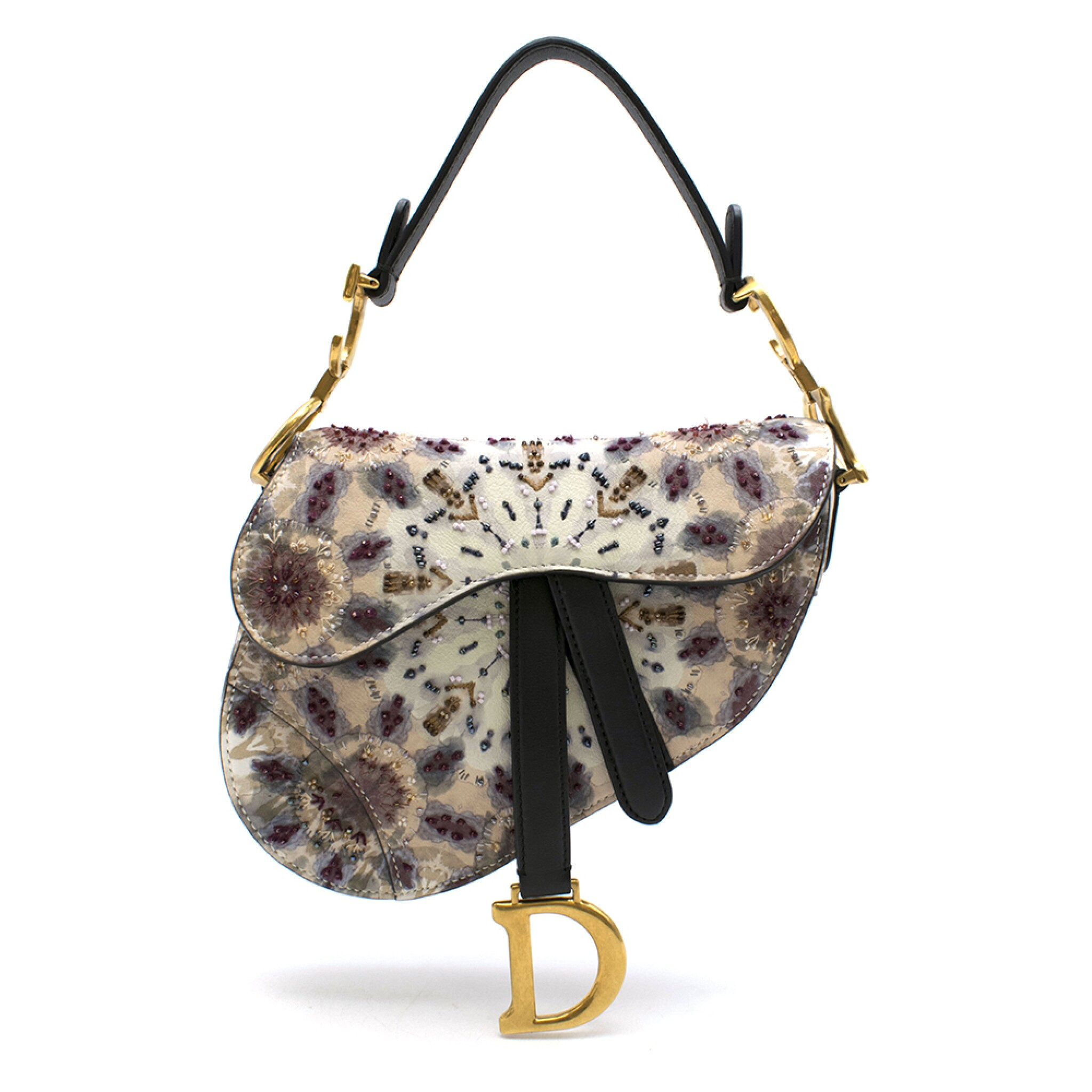 View full screen - View 1 of Lot 21. DIOR | HANDPAINTED AND BEADED MINI SADDLE BAG FROM THE KALEIDIORSCOPIC COLLECTION IN CALFSKIN WITH GOLD TONE HARDWARE, 2019.
