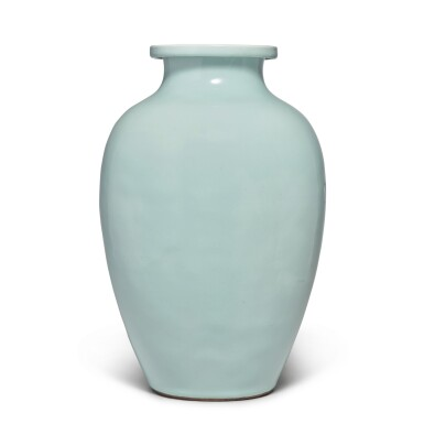 View 1. Thumbnail of Lot 82. A Guan-type ovoid jar, Qing dynasty, 18th / 19th century   清十八 / 十九世紀 仿官釉罐.