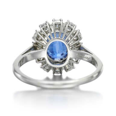 View 3. Thumbnail of Lot 127. CARTIER   SAPPHIRE AND DIAMOND RING .