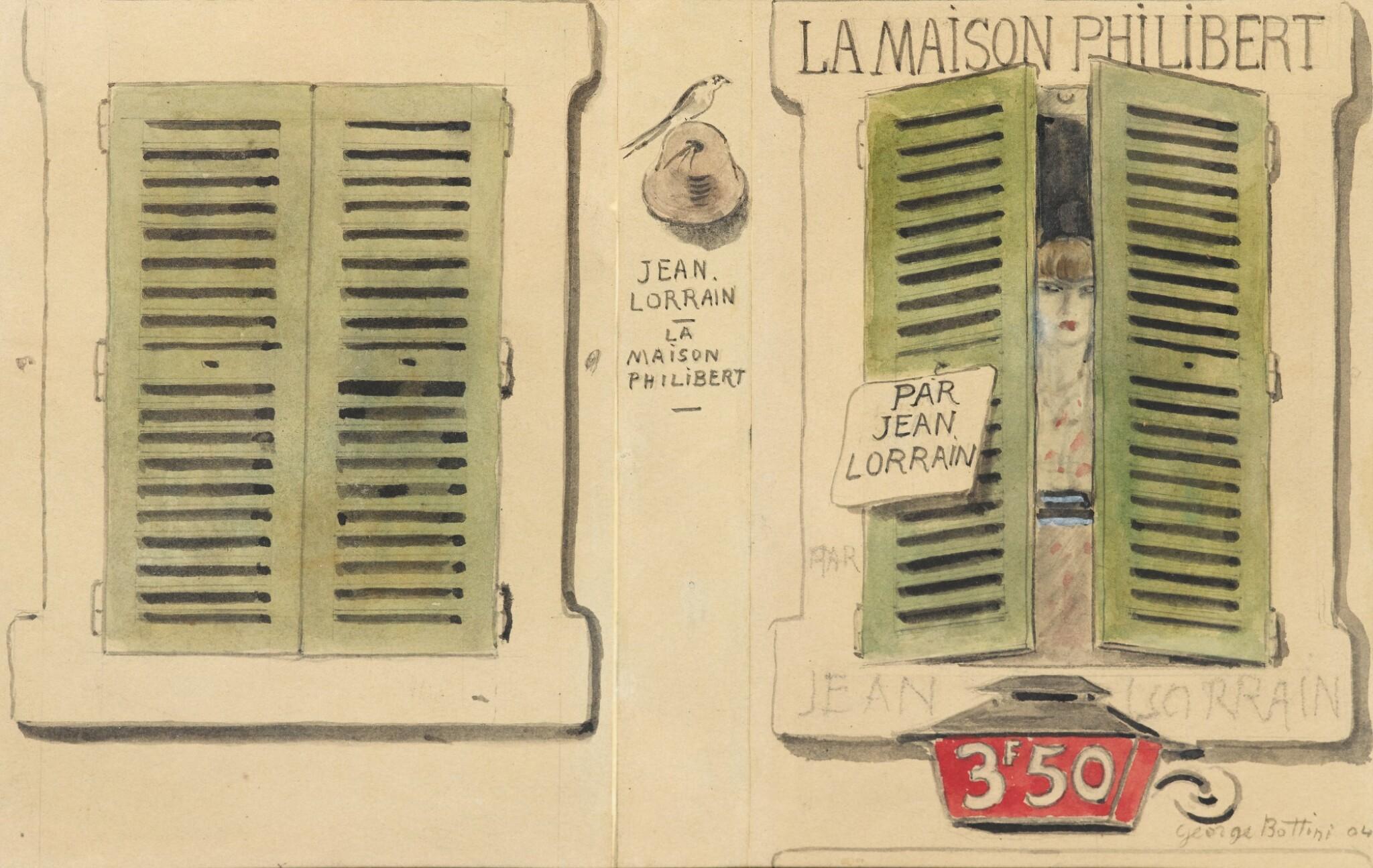 View 1 of Lot 219. BOTTINI. Dessins originaux pour illustrer La Maison Philibert de J. Lorrain. 108 dessins. Reliure Meunier.