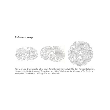 View 10. Thumbnail of Lot 202. A superb and important parcel-gilt silver 'lotus and pomegranate' bowl, Tang dynasty   唐 銀局部鎏金石榴蓮花紋花式大盌.
