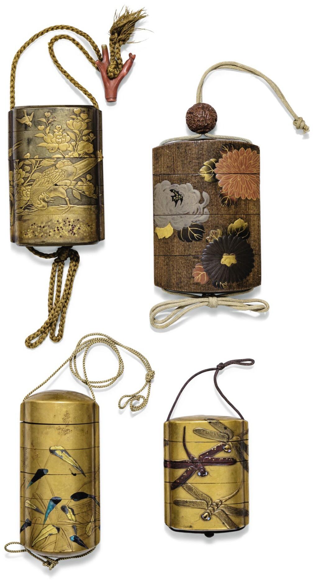 ENSEMBLE DE QUATRE INRO EN LAQUE JAPON, XVIIIE-XIXE SIÈCLE | Four lacquer inro, Japan, 18th/19th century