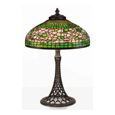 """View 1. Thumbnail of Lot 16. """"Banded Dogwood"""" Table Lamp."""
