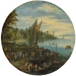 A wooded estuary with a ferry and fishermen selling their catch | 《樹木繁茂的河口、渡船與售賣漁獲的漁夫》