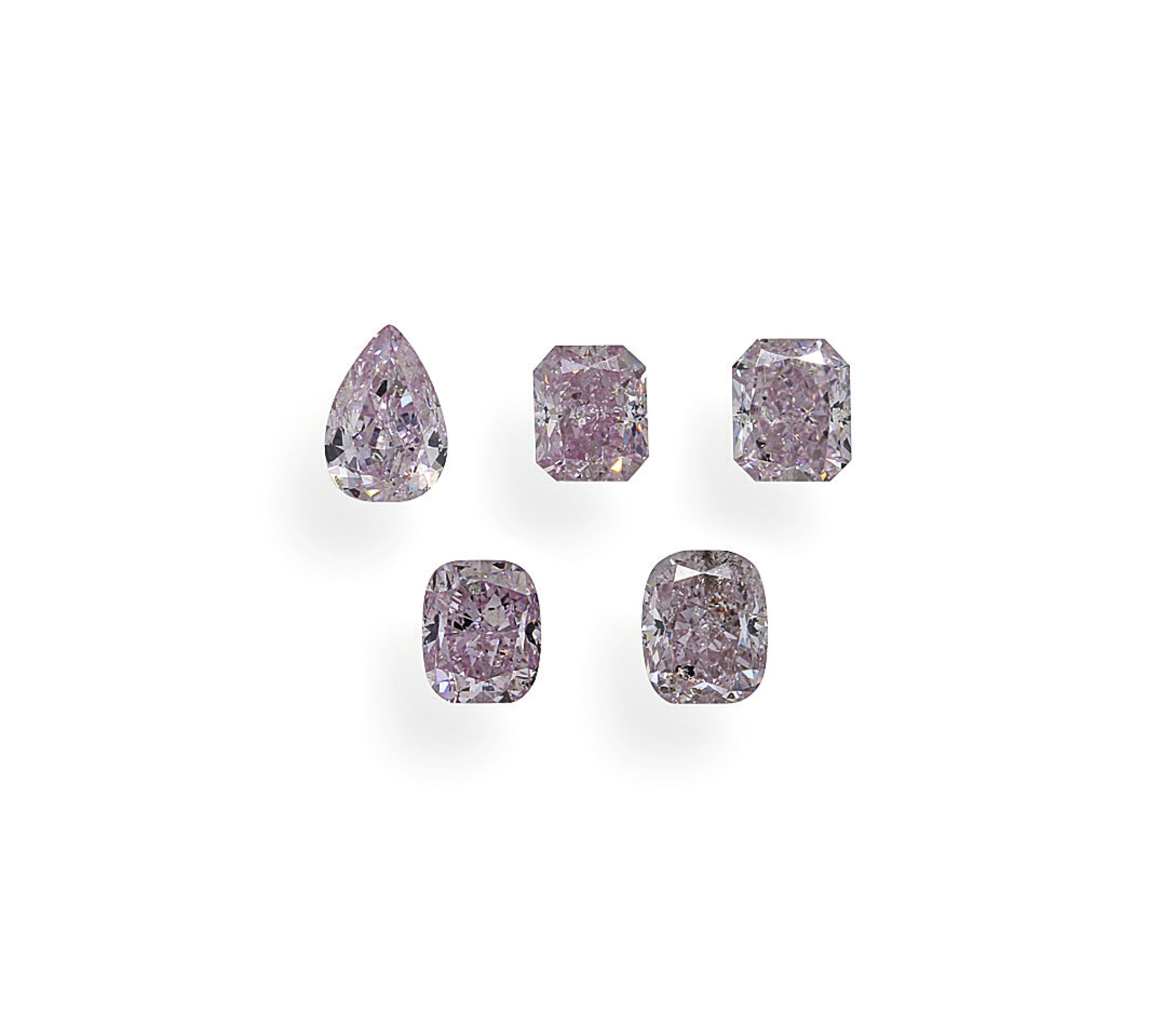 View full screen - View 1 of Lot 7. A Group of Five Fancy Purplish Pink and Fancy Purple-Pink Diamonds.