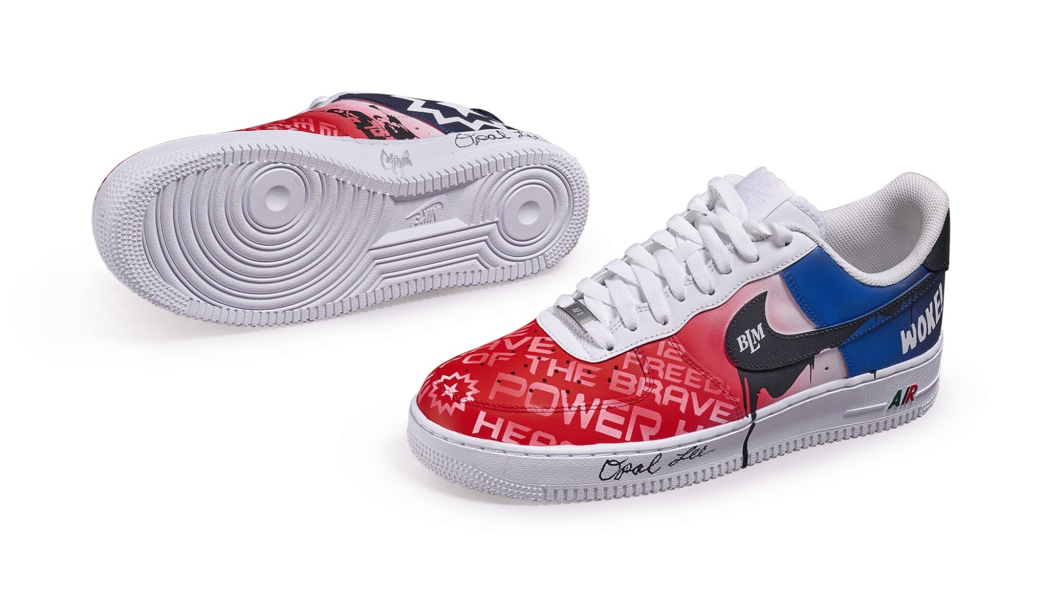 View full screen - View 1 of Lot 118. Custom Air Force 1, by Opal Lee, Niko Brim, & Sierato in honor of Juneteenth Holiday Campaign, Size 10.5.