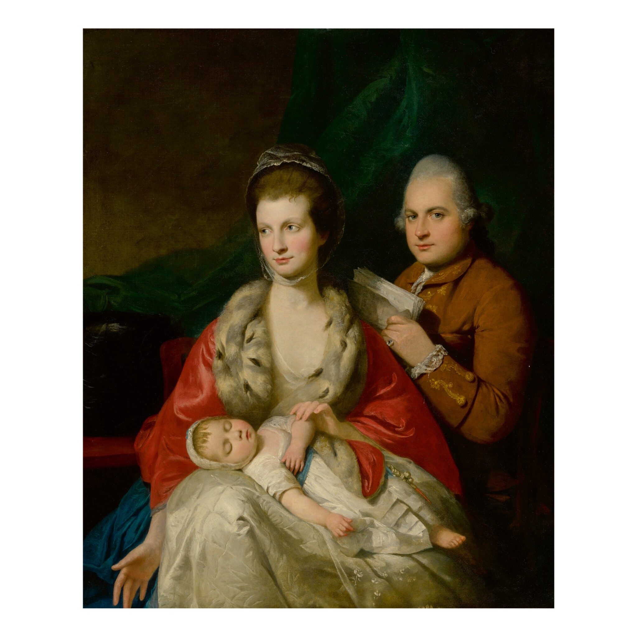 View 1 of Lot 85. MASON CHAMBERLIN, R.A. | PORTRAIT OF A FAMILY: THE MAN HOLDING A MANUSCRIPT AND SEATED BEHIND HIS WIFE, WHO WEARS AN ERMINE COAT AND HOLDS HER SLEEPING INFANT.