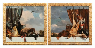 View 1. Thumbnail of Lot 32. Still life with a heron and a blue curtain; Still life with a deer and a red curtain.