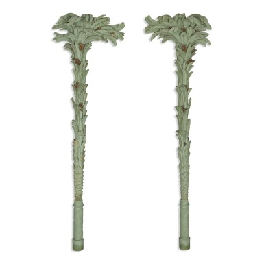 A PAIR OF LARGE GREEN-PAINTED CARVED WOODEN PALM FRONDS, 20TH CENTURY