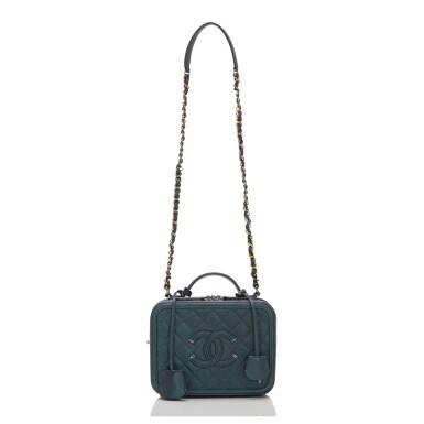 View 5. Thumbnail of Lot 119. Chanel Dark Turquoise Medium Filigree Vanity Case of Grained Metallic Lambskin Leather with Iridescent Hardware.