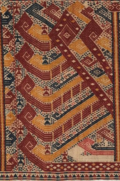 "View 2. Thumbnail of Lot 39. Tissu cérémoniel ""à jonques"" palepai, Lampung, Sumatra, Indonésie, 19e siècle | Ceremonial hanging ""ship cloth"" palepai, Lampung, Sumatra, Indonesia, 19th century."